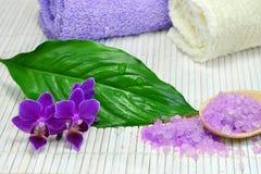 温泉设置与紫色兰花 免版税库存照片