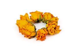 温泉辅助部件,一些黄色烘干了在白色隔绝的玫瑰 免版税库存照片