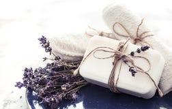温泉静物画用淡紫色 免版税库存图片