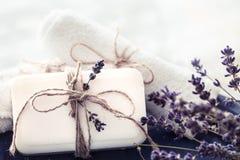 温泉静物画用淡紫色 库存照片
