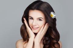 温泉面孔 有清楚的皮肤的健康妇女 Skincare 免版税图库摄影