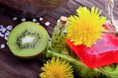 温泉 与海盐的花 肥皂用在一木backgrou的果子 免版税库存图片