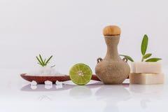 温泉治疗海盐和草本自然温泉成份sc的 免版税库存照片