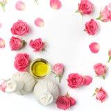 温泉治疗的草本压缩球与玫瑰色花 顶视图 库存图片