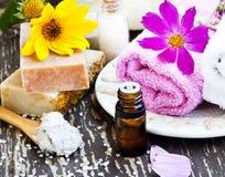 温泉 自然肥皂、黏土面具、精华油和毛巾 免版税库存图片
