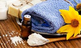 温泉 自然肥皂、黏土面具、精华油和软的毛巾 免版税图库摄影