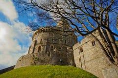 温莎,英国- 2014年2月15日:温莎城堡外部看法  库存照片