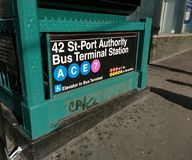 港务局公共汽车总站驻地,第42条街道,地铁,NYC,NY,美国 库存图片