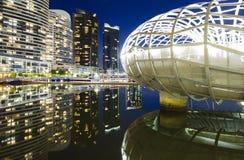 港区,墨尔本在晚上 免版税图库摄影