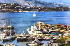 港口五颜六色的绘画有很多小船的 免版税图库摄影