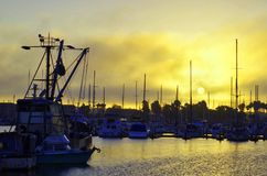 港口在与黄色天空的黎明 库存图片