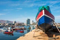 港口在安托法加斯塔在智利的阿塔卡马大区 免版税库存图片