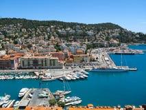 港口在尼斯,法国的全景 图库摄影