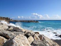港口在风暴的Chora Sfakion 免版税图库摄影
