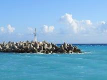 港口在风暴的Chora Sfakion 库存照片