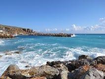 港口在风暴的Chora Sfakion 免版税库存照片