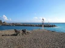 港口在风暴的Chora Sfakion 库存图片