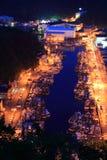 港口晚上 库存照片