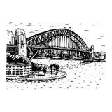 港口桥梁在悉尼,澳大利亚 向量例证