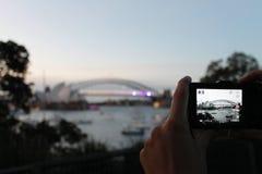 港口桥梁在悉尼 图库摄影