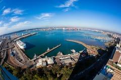 港口港口城市俯视的风景 免版税图库摄影