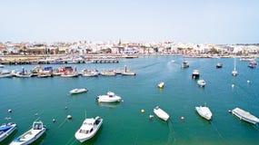 从港口的天线在拉各斯葡萄牙 免版税库存照片