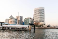 港口看法sumida河观点的在东京,日本 免版税库存照片