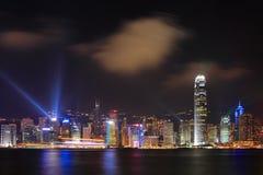 港口香港晚上场面维多利亚 免版税库存图片