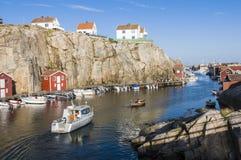 港口Smögen西海岸瑞典 免版税库存照片