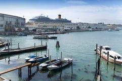 港口tronchetto威尼斯 库存图片