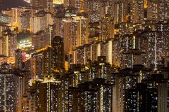 港岛和九龙空中全景  免版税库存图片