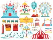 游乐园吸引力 狂欢节孩子转盘,弗累斯大转轮吸引力和可笑的集市场所娱乐传染媒介 库存例证