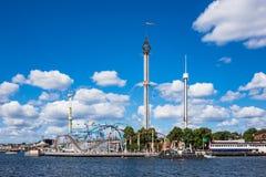 游乐园在瑞典,斯德哥尔摩的首都 库存照片