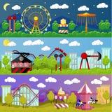 游乐园横幅概念在平的样式设计的传染媒介例证 公平的城市 幻灯片和摇摆,转盘 免版税库存图片