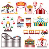 游乐园被隔绝的象 导航马戏场帐篷,转盘,弗累斯大转轮的平的例证 狂欢节设计元素 皇族释放例证