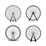 从游乐园,传染媒介剪影的弗累斯大转轮 免版税图库摄影