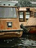 游乐园weatherd小船,汉语 免版税图库摄影