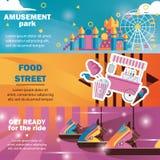 游乐场的有转盘的,在明亮的颜色的食物卡车水平的横幅 向量例证