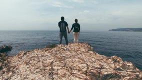 游人一对爱恋的夫妇在岩石海岸站立,握手和享受美丽的景色 影视素材