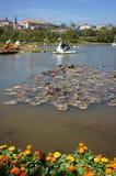 游人乘乘驾在湖的鸭子小船放松 免版税库存图片