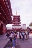 游人参观到浅草,东京,日本Sensoji寺庙  免版税库存图片