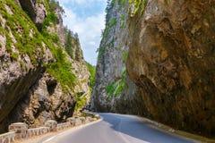 游人参观比卡兹峡谷 峡谷是其中一条最壮观的路在罗马尼亚 免版税库存照片