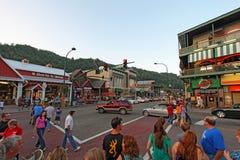游人和交通在交通信号灯8在主路通过Gat 免版税库存照片