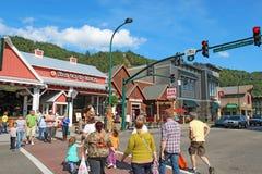 游人和交通在交通信号灯8在主路通过Gat 免版税图库摄影