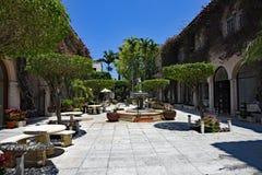游人和本机享用相当在棕榈滩的大道价值 免版税库存图片