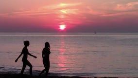 游人和美妙的日落,海景 股票录像