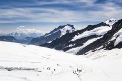 游人和Aletsch冰川看法从Jungfraujoch,瑞士 免版税库存照片