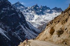 游人在冬天走染黑与雪的山在上面和黄色石地面在Thangu和Chopta谷在Lachen 免版税库存照片