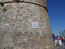 游人在圣Gimignano 库存照片