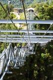 游人在峡谷的一座桥梁走SKYPARK的AJ Hacke 库存照片